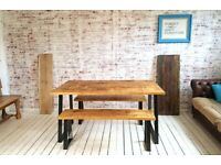 A-Frame Industrial Dining Table / Bench Sets - Any RAL Colour or Steel Finish