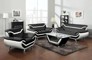 LORD SELKIRK FURNITURE - 3PC Adona Sofa, Loveseat & Chair in Leather Gel in Black & White -$1399.00