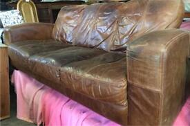 Brown leather vintage distressed style 3 seater sofa & armchair