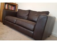 Brown Real Leather 3 Seater Sofa and Chair