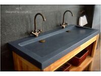 Double bathroom basins Sink Trough style natural stone Grey Granite 1200mm YATÉ