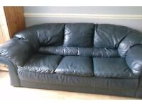 Navy Leather Three seater sofa