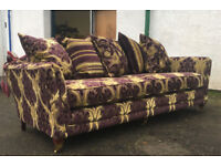 Inspired by Duresta trafalgar purple/gold 3 seater sofa DELIVERY AVAILABLE