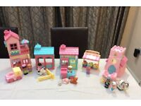 Elc early learning centre happyland village set, stables, vets, tearooms flower stall & church