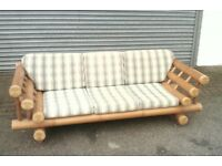 large bamboo 3 seater sofa