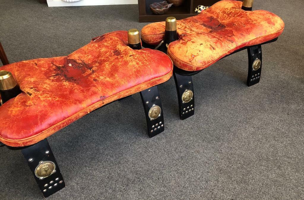 Groovy Pair Of Leather Wood Camel Saddle Foot Stool Bench Ottoman Seat In Clapham London Gumtree Machost Co Dining Chair Design Ideas Machostcouk