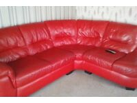 Corner sofa and chair red itialian leather