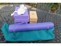 Various items of Yoga exercising equipment