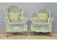 Attractive Pair Of His & Hers Green Upholstered Fireside Armchairs Chairs