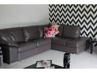 brand new grey leather corner sofa immaculate condition!!!