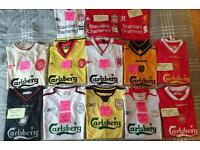 Liverpool football shirts - job lot of 13 mens home and away shirts from 1996-2015