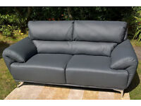 Ex-display Enzo 3 Seater Grey Leather Sofa.