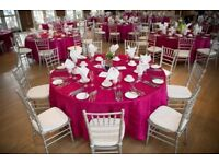 Wedding & Party venue decorations, Chair cover hire from £0.60p, Heavy duty backdrop hire from £60