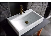 600 White Marble Basin Bathroom Sink + faucet hole PEGASUS WHITE