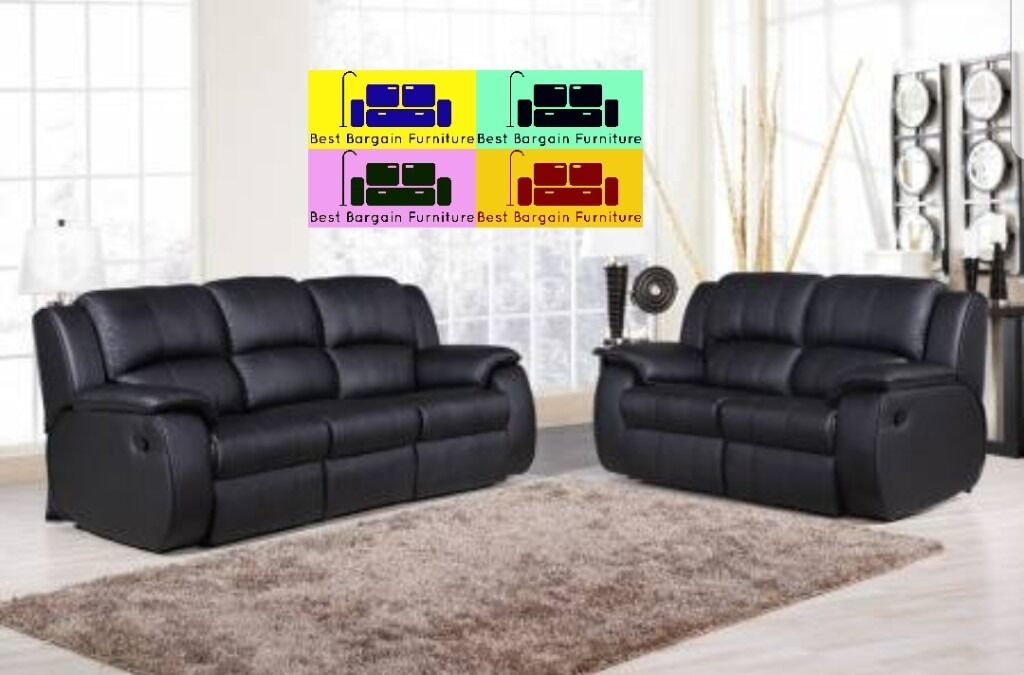 LUXUARY ANYA REAL BONDED LEATHER RECLINER SOFA SUITE ..IN BROWN AND BLACK  COLOUR .