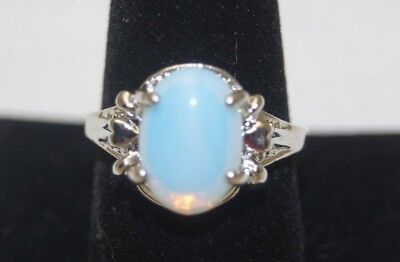 Silver Tone Large White Opal Oval Cut Faceted Cocktail Birthstone Ring Size 10