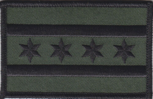 Chicago Flag Illinois police Patch SUBDUED BLACK on OD GREEN