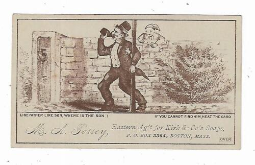 Old Puzzle Trade Card MA Torrey Agent Kirk Soaps Boston DRUNK Find Son Heat Card