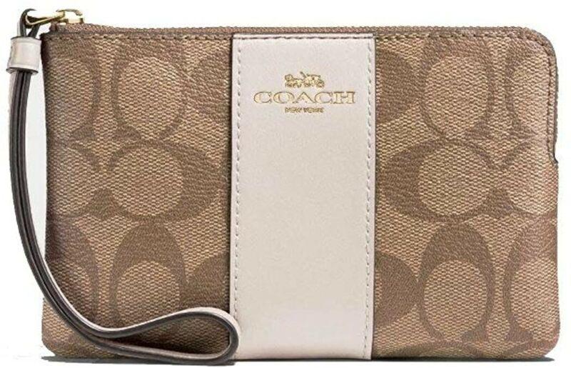 COACH SIGNATURE C LOGO CORNER ZIP WRISTLET BAG PURSE KHAKI $30 F58035 NEW NWT
