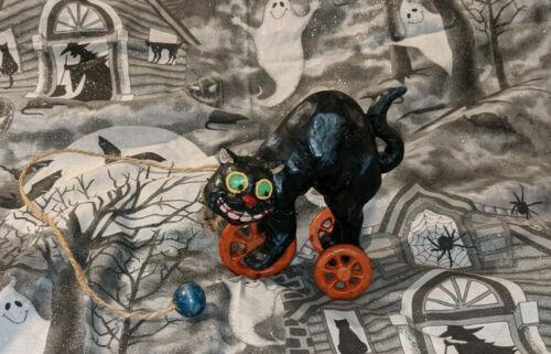 Halloween Black Cat Tug Along Pull Toy Figurine Vintage Style Look