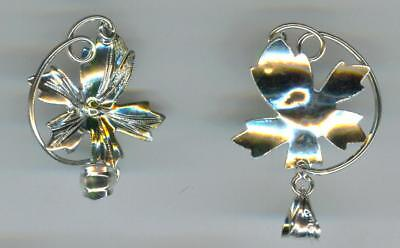 5 PETAL FLOWER (#4) STERLING SILVER BEAD OR PEARL-MOUNT PENDANT BAIL
