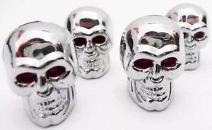 SKULL BIKE DUST CAPS 4 X CHROMED NEW FOR HARLEY DAVIDSON YAMAHA TRIUMPH VAN CAR