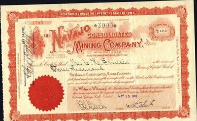 CRIPPLE CREEK, CO., NAVAJO CONS. MINING CO, 1902 UNCANCELLED STOCK CERTIFICATE