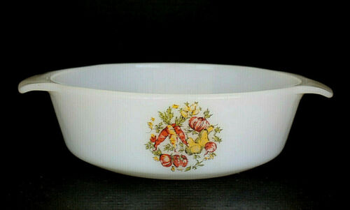 Fire King Vegetable Medley Milk Glass Bake Serve Cooking Kitchen  Replacement