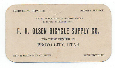 1920s Advertising Card F.H. Olsen Bicycle Supply Company Provo City Utah