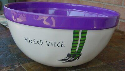 """Rae Dunn Melamine Large Halloween Treats Serving Bowl 10"""" Wicked Witch New"""