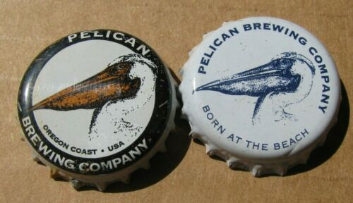 2 DIFFERENT PELICAN BREWING CO PACIFIC CITY OREGON MICRO CRAFT BEER BOTTLE CAPS