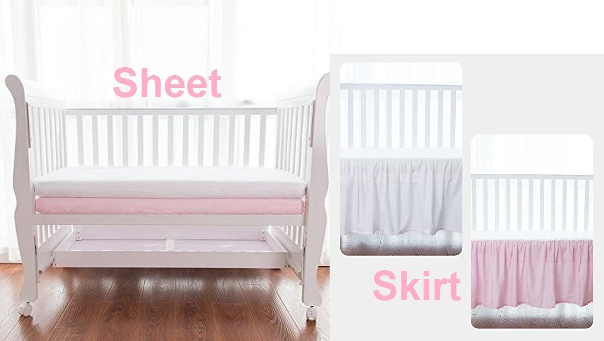 100% Combed Cotton Sateen Crib Sheet and/or Skirt Pink and/o