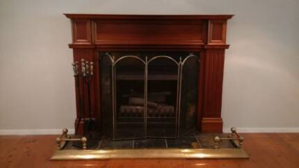 Open Log Wood Fire with Wood Mantle, Flu & Guard North Rocks The Hills District Preview