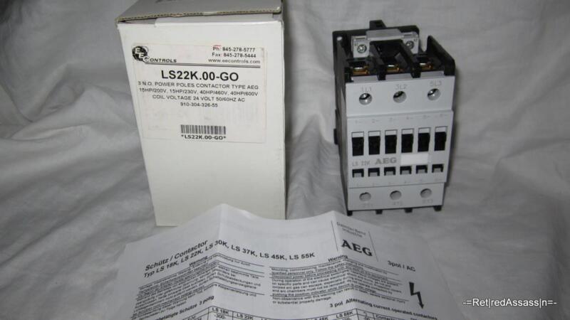 AEG LS22K 00 GO 3 Pole 220V Contactor 3PH 80A 600V 40HP 24V Coil Motor Starter
