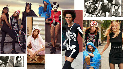 H&M MASQUERADE Halloween SCULL Skeleton Day of Dead fancy dress body costume