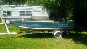 14 ft Princecraft Aluminum boat, Johnson 15hp motor and trailer