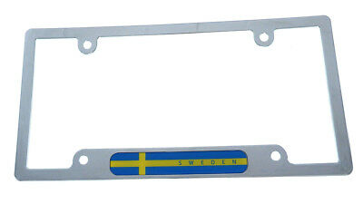 Sweden Swedish Flag car License Plate Frame chrome plated plastic holder - Swedish Flag Framed