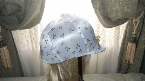 Hunt Helmet English/Hunt Covers In White with Gold Bows