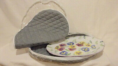 - QUILTED CHINA ZIPPERED STORAGE COVER BAG-LGE OVAL PLATTER+EXTRA PLASTIC BAG-GRAY
