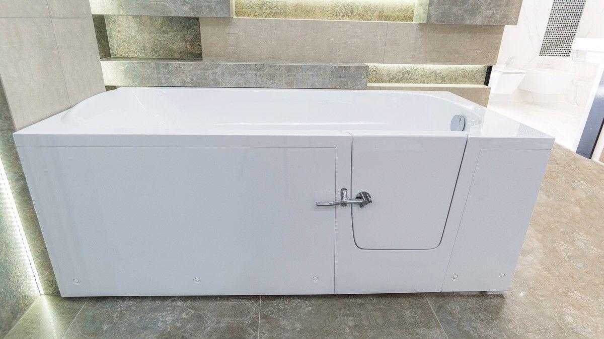 IMPRESSION Seniorenbadewanne mit Tür 160x76cm Links/Rechts Ablaufgarnitur + Füße