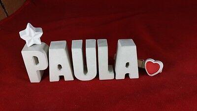 Beton, Steinguss Buchstaben 3D Deko Namen PAULA als Geschenk verpackt!