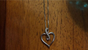 Sterling silver heart and diamond infinity