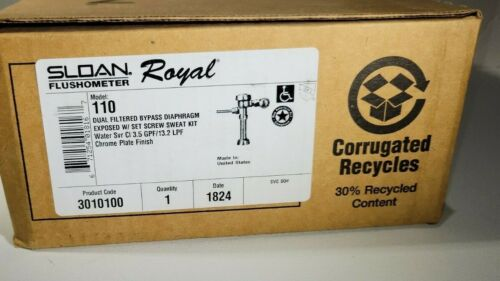 SLOAN FLUSHOMETER ROYAL Model 110 - Chrome- Product Code 3010100 - open box