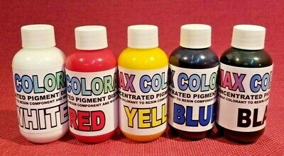 Color Pigment Paste 4 Epoxy Resins 2.oz Each -black White Red Yellow Blue Kit