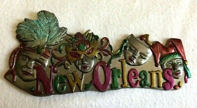 MAGNET Pewter NEW ORLEANS Masks MARDI GRAS Feathers LOUISIANA Eclectic - New Orleans Masks