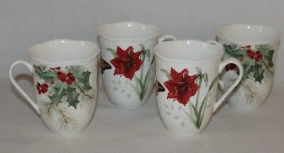 Lenox Butterfly Meadow Holiday Amaryllis Coffee Mugs Set of Four New (Four Coffee Mugs)
