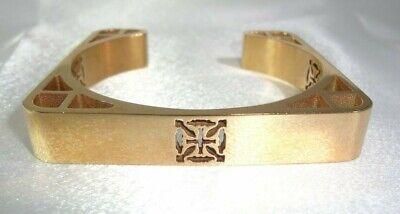 HTF Retired RUSTIC CUFF Almost Square Lt Rose Gold Colored Logo Cutout Bracelet!