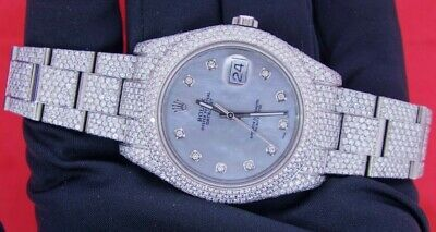 Hip Hop Rolex Datejust 2 Steel Watch With 2600 Diamonds 18 Carats Flower Setting