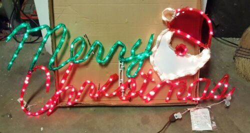 VINTAGE MR. CHRISTMAS Merry Christmas Santa Face  SCULPTURE LARGE  LIGHTED
