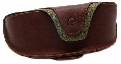 Ducks Unlimited Leather Sunglass Case with Fabric Fasten Belt Loop Brown Tan (Ducks With Sunglasses)